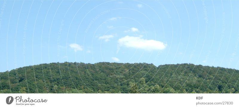 Blauer Himmel, Grüner Wald Hügel Heidelberg Wolken Ferien & Urlaub & Reisen Panorama (Aussicht) Berge u. Gebirge Bäüme KDF groß Panorama (Bildformat)