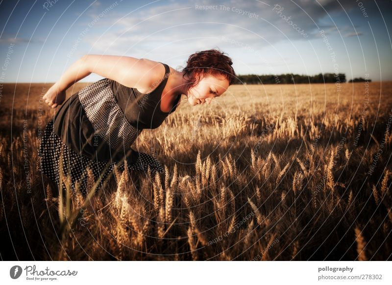 auf der Suche nach dem schwarzen Korn Mensch Frau Himmel Natur Jugendliche Sommer Pflanze Sonne Wolken Erwachsene Landschaft feminin Junge Frau 18-30 Jahre Feld ästhetisch