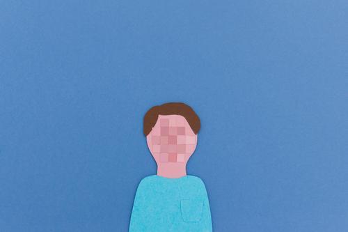 Anonym im Netz | Verpixeltes Nutzer-Portrait aus Papier ausgeschnitten Fortschritt Zukunft Informationstechnologie Internet maskulin Kopf 1 Mensch gebrauchen