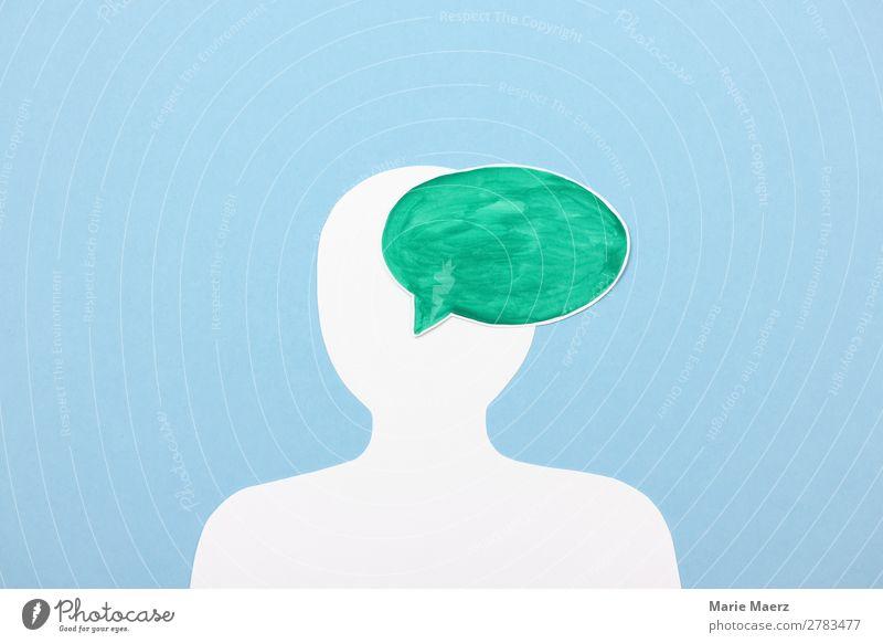 Grüne Botschaft Karriere Erfolg sprechen Mensch Kopf 1 Sprechblase Kommunizieren frei gut positiv grün Tugend Zufriedenheit Sicherheit Wahrheit Ehrlichkeit
