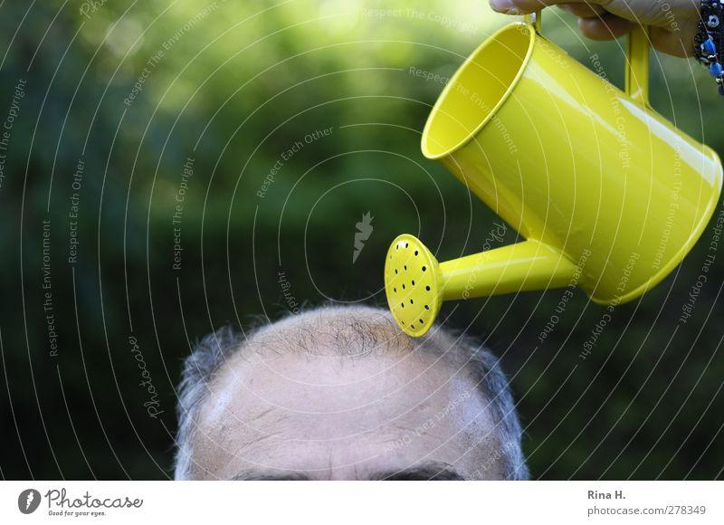 der letzte Versuch Behandlung Leben maskulin Mann Erwachsene Männlicher Senior Haut Kopf Haare & Frisuren 60 und älter Glatze Gießkanne lustig gelb grün