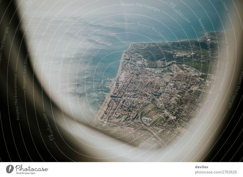 Luftaufnahme der Costa del Sol Meeresküste von einem Flugzeug aus gesehen. Ferien & Urlaub & Reisen Sommer Sonne Berge u. Gebirge Natur Landschaft Wasser Himmel