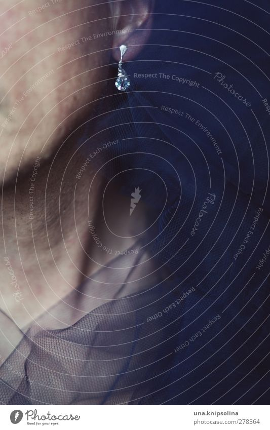 johnny mit dem glitzerohrring elegant schön maskulin Mann Erwachsene Ohr Hals 1 Mensch 30-45 Jahre Mode Stoff Tüll Kragen Accessoire Schmuck Ohrringe Bart