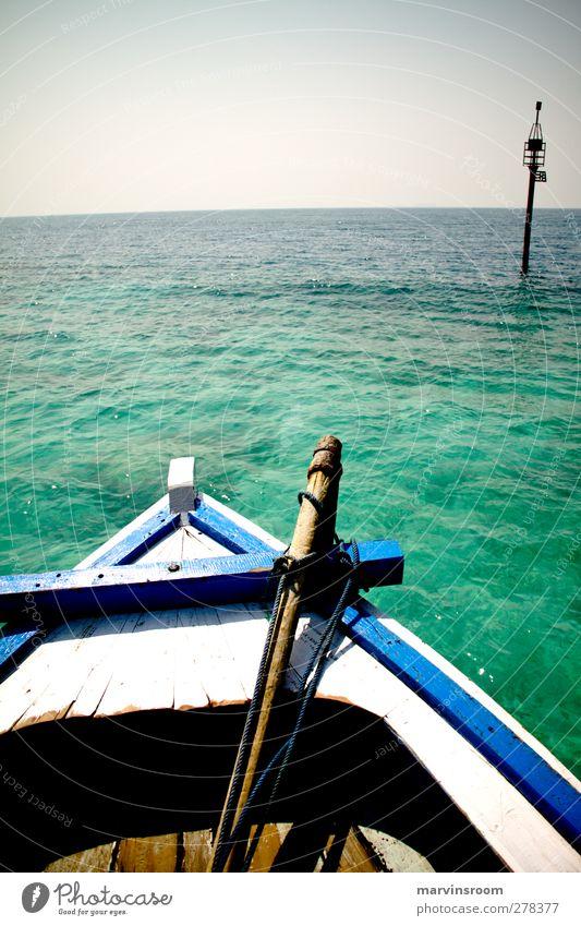 die Abreise Abenteuer Meer Insel Natur Wasser Bucht Bootsfahrt Fischerboot Segel Farbfoto Tag Sonnenlicht Weitwinkel