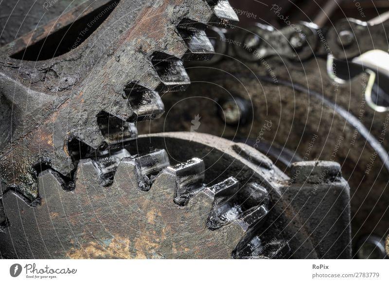 Gertriebe einer Baumaschine. Wissenschaften Arbeit & Erwerbstätigkeit Beruf Arbeitsplatz Baustelle Fabrik Industrie Handwerk Hardware Maschine Motor Getriebe