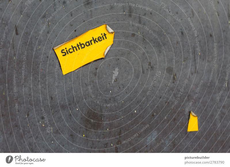 Sichtbarkeit Mauer Wand Schriftzeichen Schilder & Markierungen Hinweisschild Warnschild entdecken leuchten gelb Kommunizieren Problemlösung markant kleben