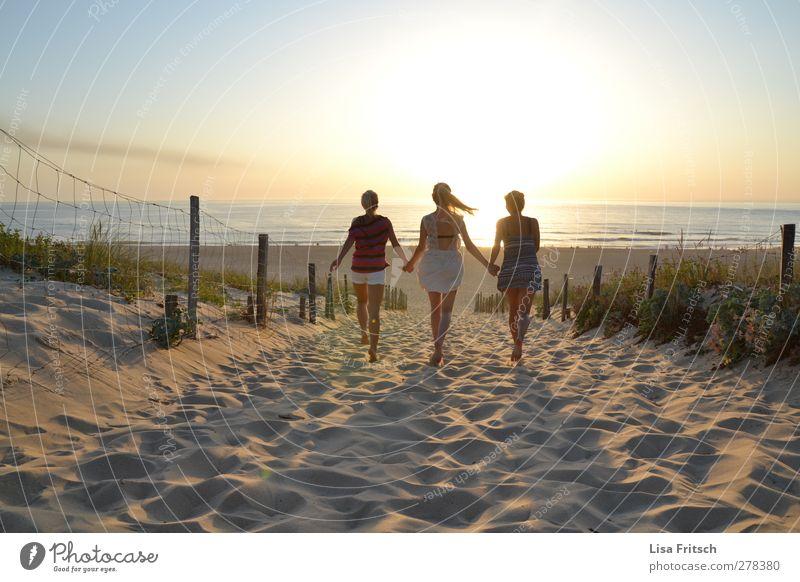 hello sunshine Mensch feminin Junge Frau Jugendliche Freundschaft Leben 3 18-30 Jahre Erwachsene Wasser Sonnenaufgang Sonnenuntergang Schönes Wetter Strand Meer