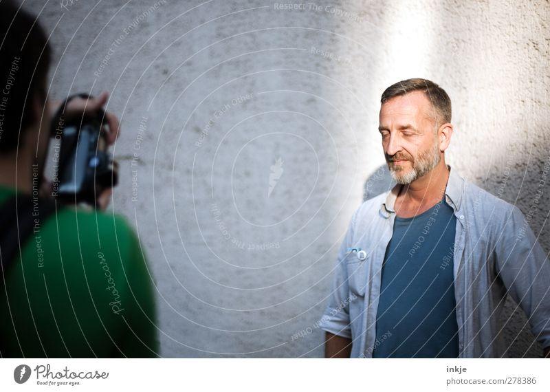 making of ( GNTM ) Mann blau schön Erwachsene Leben Gefühle grau Stil Stimmung Zusammensein Freizeit & Hobby maskulin Lifestyle T-Shirt einzigartig Model
