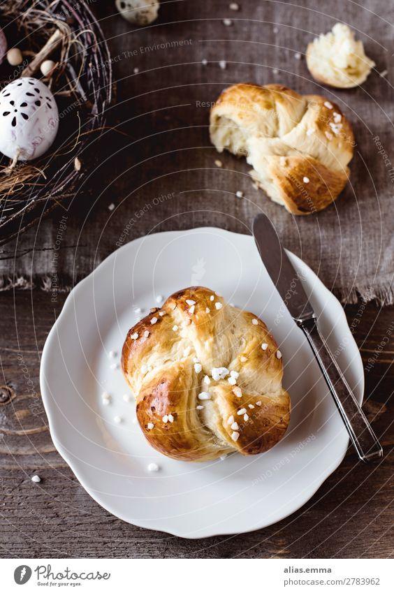 Osterbrunch - Leckerer Osterkranz zum Frühstück Teigwaren Backwaren Brot Brötchen Kuchen Süßwaren hefezopf brioche osterkranz Ernährung Kaffeetrinken Büffet