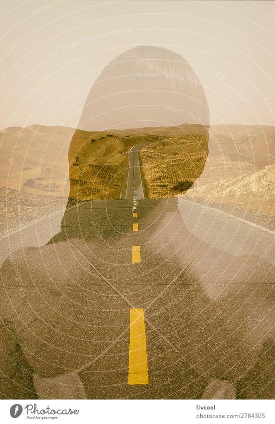 Wüstenautobahn Erholung Mensch feminin Frau Erwachsene Weiblicher Senior Haut Kopf 45-60 Jahre Landschaft Pflanze Sand Himmel Wolken Park Ruine Verkehr Straße