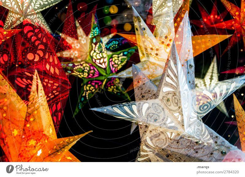 40 Tage Weihnachten & Advent Zeichen Stern (Symbol) Weihnachtsmarkt Weihnachtsstern Dekoration & Verzierung leuchten mehrfarbig Stimmung Glaube