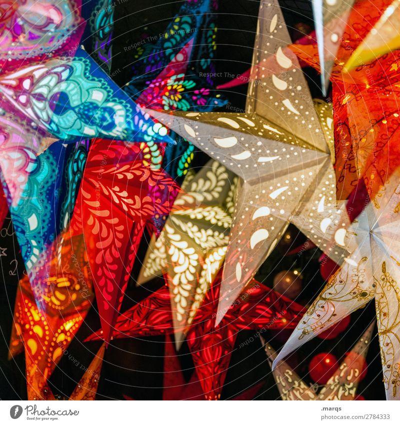 Sterne Weihnachten & Advent Dekoration & Verzierung Ornament Stern (Symbol) hängen leuchten mehrfarbig Stimmung ästhetisch Hintergrundbild Weihnachtsdekoration