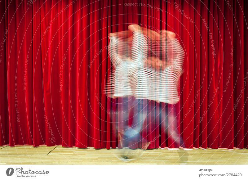 Balleriner Entertainment Veranstaltung Tanzen Mann Erwachsene 1 Mensch Bühne Tänzer Show Bühnenbeleuchtung Vorhang Bewegung rot Freude ästhetisch einzigartig