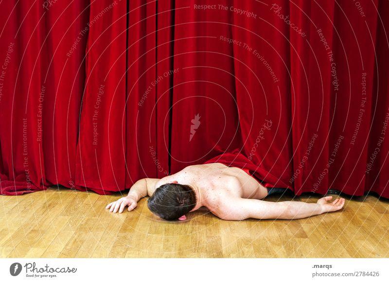 der Mörder wars (II) Entertainment maskulin 1 Mensch Theaterschauspiel Bühne Kino Vorhang liegen außergewöhnlich rot gefährlich Tod Mord Leiche skurril Farbfoto