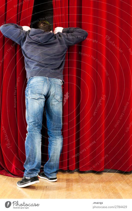 Vorschau Mann Erwachsene Körper 1 Mensch Bühne Vorhang Kino rot Vorfreude Neugier Interesse Hoffnung Beratung Kommunizieren Kontrolle Zukunft Suche Farbfoto