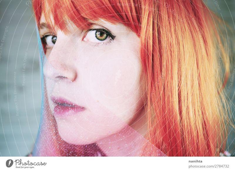 Künstlerisches Porträt einer jungen rothaarigen Frau elegant Stil schön Haare & Frisuren Haut Gesicht Bildschirm Mensch feminin Junge Frau Jugendliche