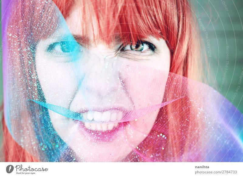 Künstlerisches Porträt einer jungen rothaarigen Frau Stil Gesicht Bildschirm Mensch feminin Junge Frau Jugendliche Erwachsene 1 18-30 Jahre Kunst Kultur