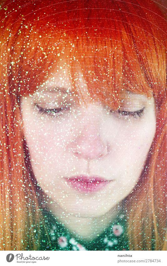 Künstlerisches Porträt einer jungen rothaarigen Frau Stil exotisch schön Gesicht Bildschirm Mensch feminin Junge Frau Jugendliche Erwachsene 1 18-30 Jahre Kunst