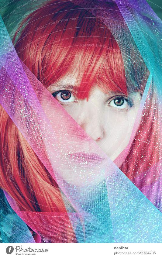 Künstlerisches Porträt einer jungen rothaarigen Frau Stil exotisch schön Haare & Frisuren Gesicht Bildschirm Mensch feminin Junge Frau Jugendliche Erwachsene 1