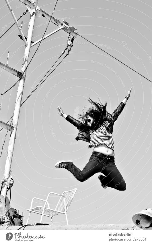 Hiddensee | The Sky is the Limit Jugendliche Ferien & Urlaub & Reisen Stadt Freude feminin Erotik Junge Frau Freiheit Glück springen Stil Tanzen fliegen Freizeit & Hobby frei verrückt