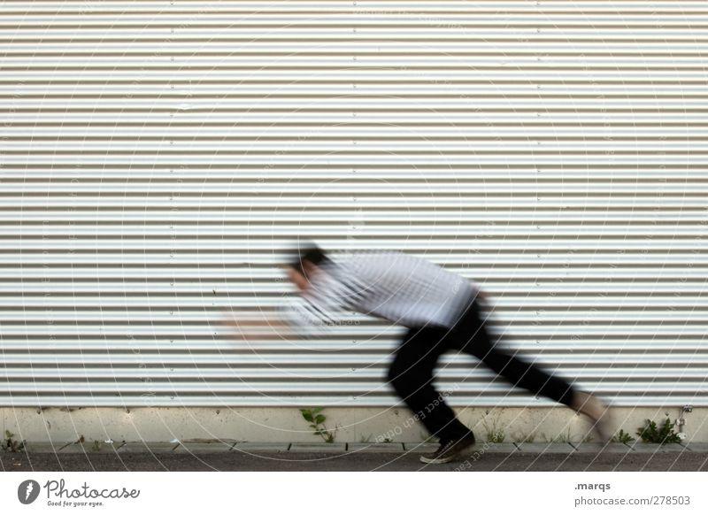 Blitzstart Mensch Fassade rennen Geschwindigkeit Farbfoto Außenaufnahme Hintergrund neutral Bewegungsunschärfe Eile Textfreiraum oben 1 Mensch einzeln