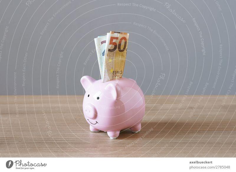 Sparschwein mit Euro Geldscheinen Kapitalwirtschaft Business rosa Spardose Reichtum sparen Farbfoto Innenaufnahme Studioaufnahme Menschenleer Textfreiraum links