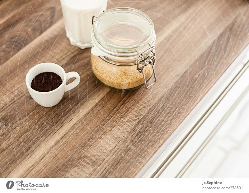 lecker Frühstück Lebensmittel Brauner Zucker Kaffeetrinken Getränk Heißgetränk Milch Latte Macchiato Espresso Tasse Glas Einmachglas Lifestyle süß braun weiß