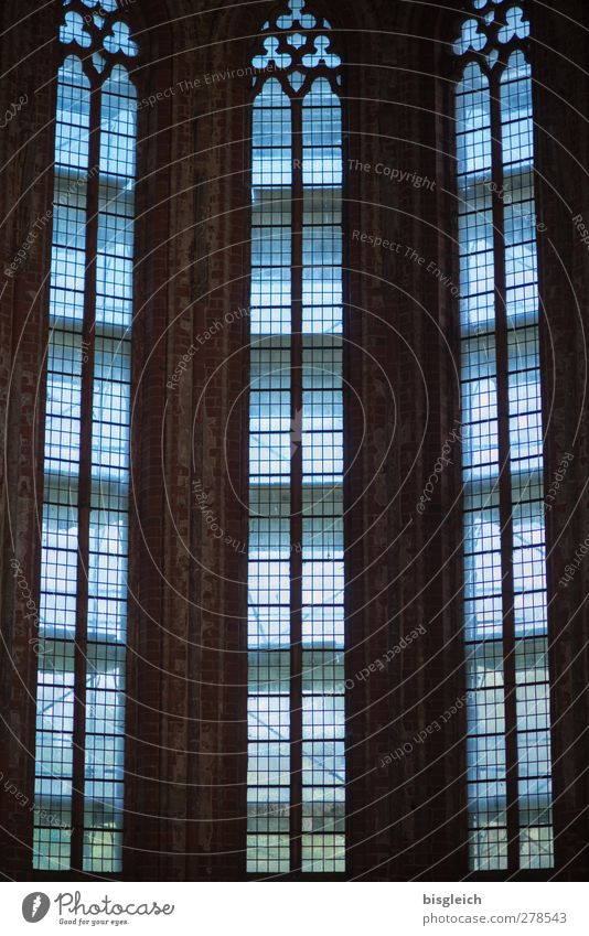 Kloster X Chorin Bundesadler Europa Kleinstadt Kirche Kloster Chorin Fenster Kirchenfenster blau schwarz Farbfoto Gedeckte Farben Innenaufnahme Menschenleer