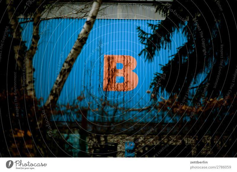B b Beschriftung Buchstaben Halle Lagerhalle Schriftzeichen Wand Großbuchstabe Blech Wellblech blau rot Typographie