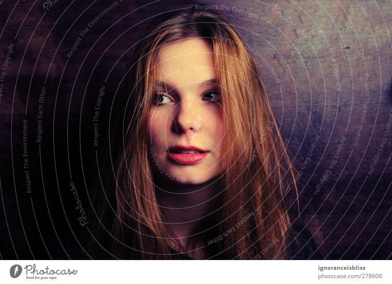 A. Mensch feminin Junge Frau Jugendliche Erwachsene Haare & Frisuren 18-30 Jahre brünett langhaarig Angst Neid Hochmut Farbfoto Innenaufnahme Studioaufnahme