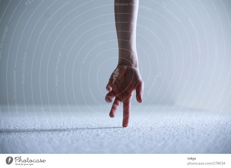Handstand Freizeit & Hobby Spielen Leben Unterarm 1 Mensch laufen machen Sport stehen einfach Gefühle Stimmung Beginn Bewegung gestikulieren Zeigefinger oben