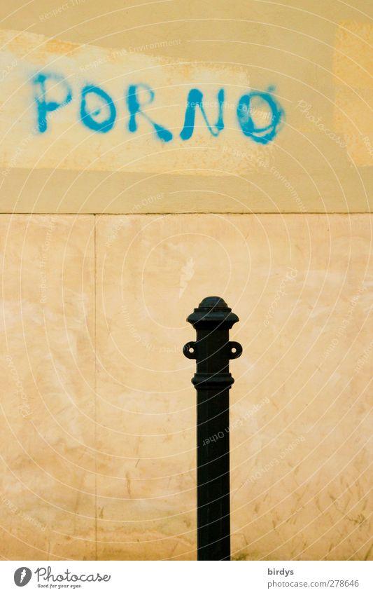 Porno....jugendfrei Stadt blau gelb Wand Graffiti Mauer Fassade authentisch Schriftzeichen Sex Kultur trendy Sexualität Pfosten standhaft Pornographie