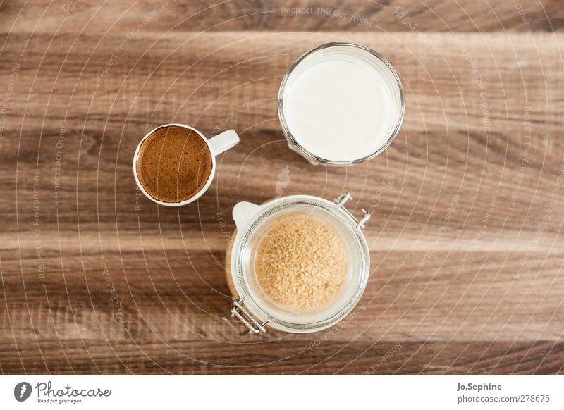 lecker Frühstück weiß braun Glas Lebensmittel Ernährung Lifestyle Getränk süß Kaffee Frühstück lecker Tasse Milch Espresso Foodfotografie Zutaten