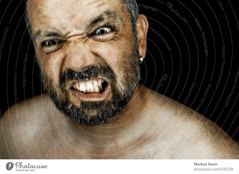 Wut Mensch Mann Erwachsene Gesicht Gefühle Kopf Stimmung außergewöhnlich maskulin bedrohlich Zähne Hautfalten Wut Gewalt Bart Stress