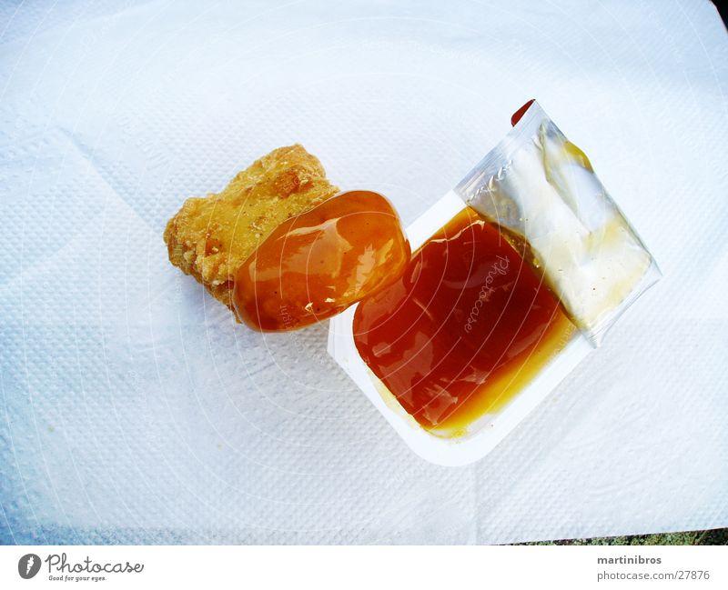 goldnuggets Ernährung Haushuhn Restaurant Serviette Saucen Dip Nuggets