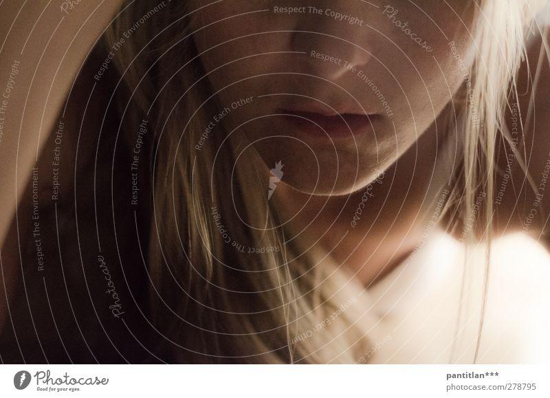 Tentacion de un beso feminin Junge Frau Jugendliche Gesicht 1 Mensch Erotik Begierde Lust ästhetisch Liebesaffäre verführen Lippen Kinn anonym langhaarig