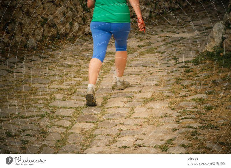 Eile mit Weile Mensch Frau blau grün Farbe Erwachsene Sport Senior Bewegung Wege & Pfade laufen authentisch 45-60 Jahre Fitness sportlich Mut