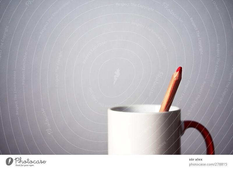 Rotstift Tasse Arbeit & Erwerbstätigkeit Büroarbeit Wirtschaft Kapitalwirtschaft Business Karriere Erfolg Schreibstift Farbstift zeichnen rot weiß Kreativität
