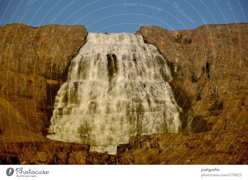Island Umwelt Natur Landschaft Himmel Schönes Wetter Felsen Berge u. Gebirge Wasserfall Dynjandi Westfjord kalt Kitsch natürlich Stimmung fließen Fluss nass