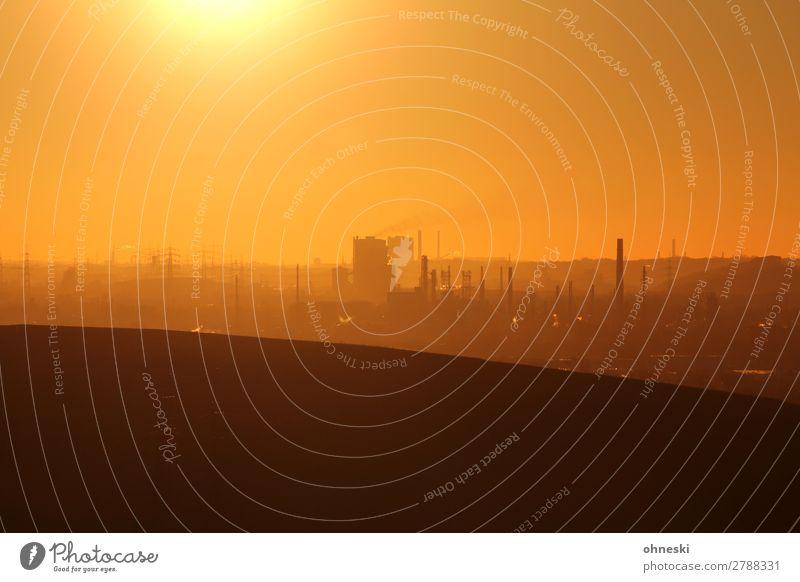 Industries Landschaft Luft Himmel Wolkenloser Himmel Sonnenaufgang Sonnenuntergang Sonnenlicht Klima Klimawandel Schönes Wetter Hügel Stadtzentrum