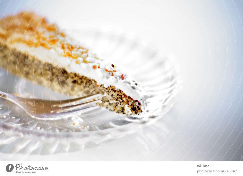 zuckersüß Ernährung süß genießen Appetit & Hunger lecker Kuchen Teller Genusssucht Kaffeetrinken Kuchengabel Glasteller Nußkrokant