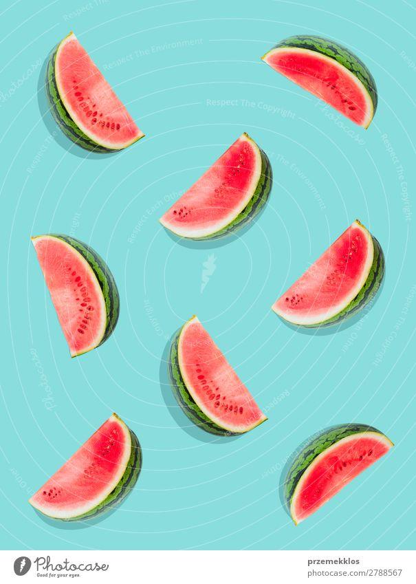 Wassermelonenmuster. Frucht Ernährung Essen Vegetarische Ernährung Diät Sommer frisch lecker natürlich saftig Sauberkeit grün rot flach Lebensmittel fruchtig