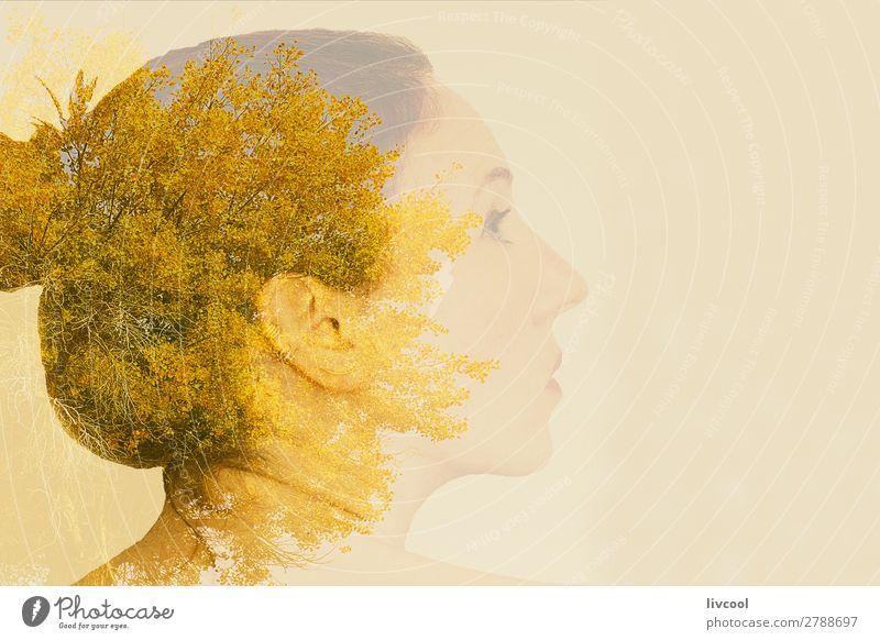 Frau Mensch Himmel Natur Pflanze schön Baum Erholung Einsamkeit Blatt ruhig Gesicht Erwachsene gelb Senior feminin