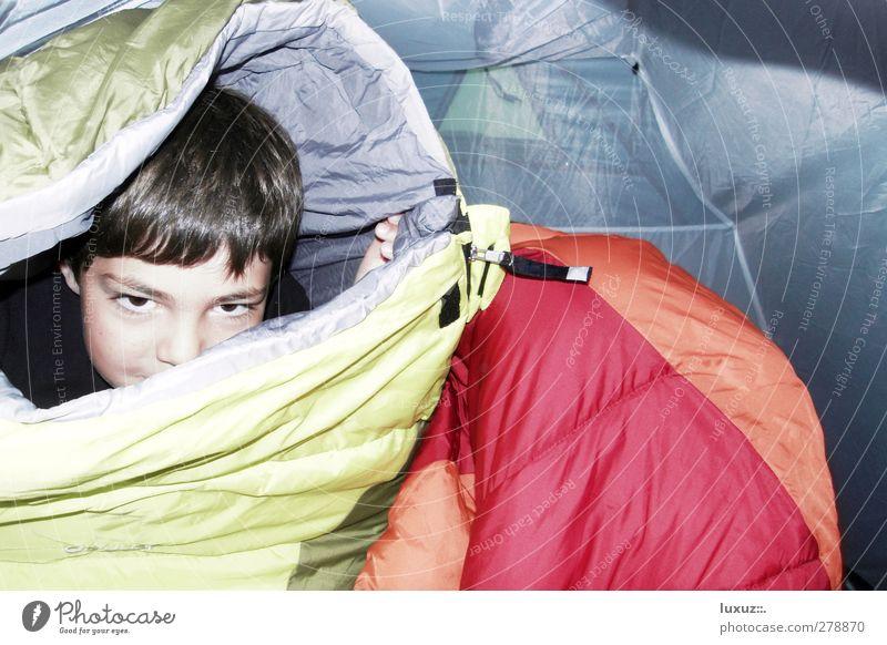 Geisterstunde Kind Freude Spielen lachen Glück Kindheit Lebensfreude verstecken Camping chaotisch Geister u. Gespenster Nervosität Zelt toben Übermut Kokon