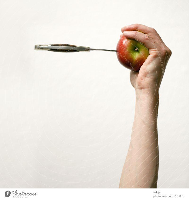 Treffer..... ! *schwitz* [ 700 ] Mensch Hand Leben Spielen Gefühle Stimmung Frucht Freizeit & Hobby Arme Ernährung bedrohlich Ziel festhalten Apfel fangen Konflikt & Streit