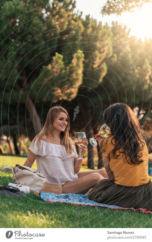 Schöne Frauen, die im Park Wein trinken. Picknick Freundschaft Jugendliche Glück Glas Zuprosten klirrend Gitarre Sommer Mensch Freude Mädchen hübsch Liebe schön