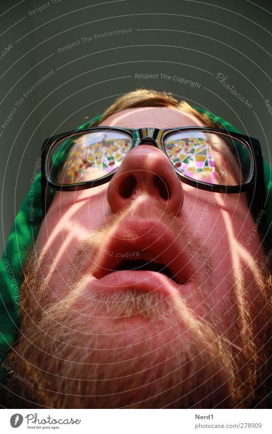 Facette maskulin Junger Mann Jugendliche Kopf Bart 1 Mensch 18-30 Jahre Erwachsene Ornament entdecken Blick träumen nerdig Neugier Begeisterung Brille staunen