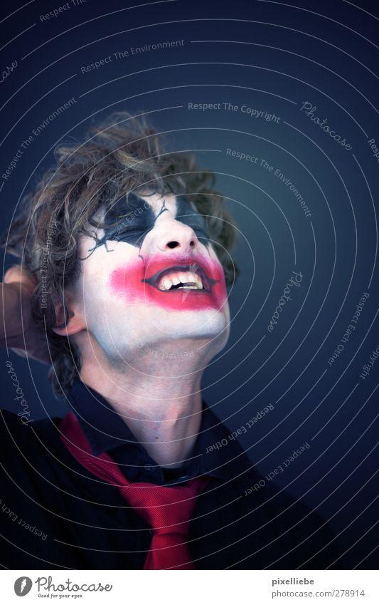 Wahnsinn Schminke Karneval Halloween Mensch maskulin Junger Mann Jugendliche Erwachsene Gesicht 1 18-30 Jahre Zirkus Krawatte Locken Lächeln lachen bedrohlich