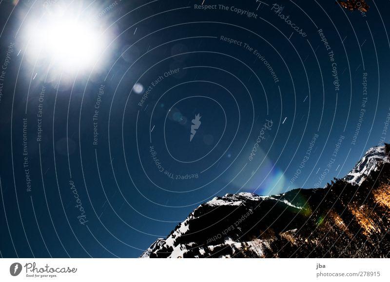 Mondstrahlen und Sternenschein Leben Ferne Winter Schnee Berge u. Gebirge wandern Natur Urelemente Himmel Nachthimmel Vollmond Schönes Wetter Alpen Gipfel