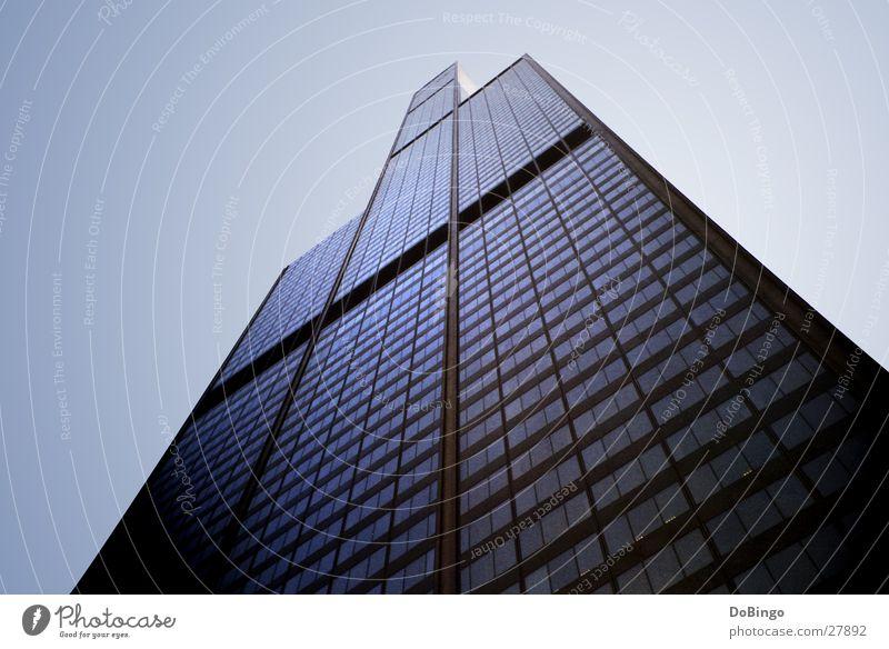 Scratch the sky blau Stadt Wolken Haus Farbe kalt dunkel Fenster Architektur Gebäude Glas Hochhaus Turm USA Stahl Etage